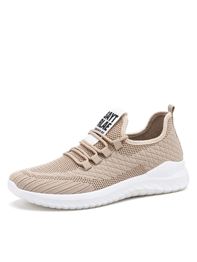 Men Knitted Fabric Breathable Sport Casual Running Shoes