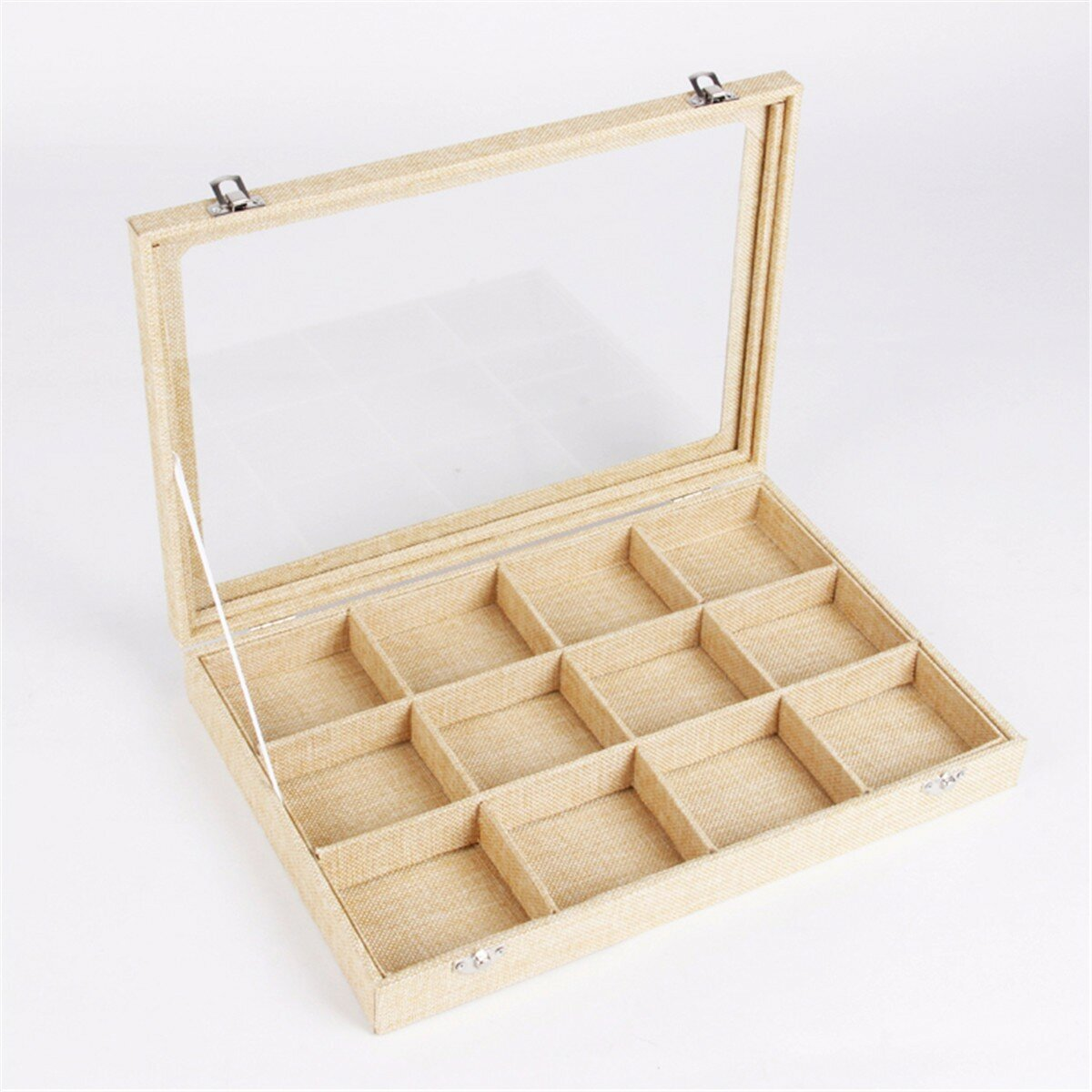 Linen Glass Lid Jewelry Display Case Storage Box
