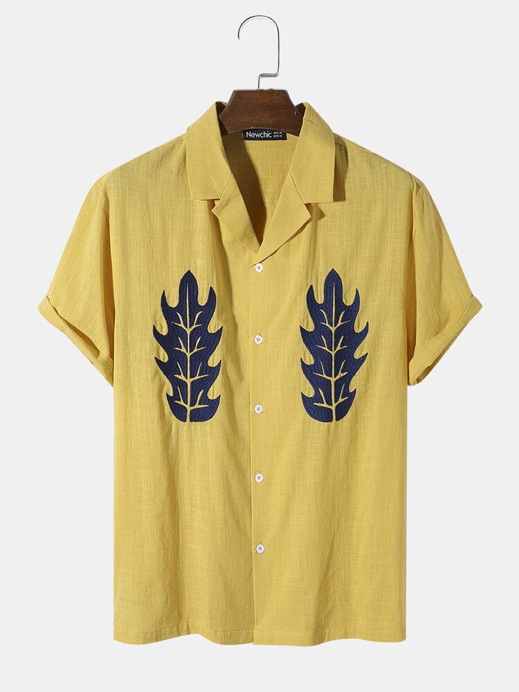 Mens 100% Cotton Abstract Embroidery Revere Collar Street Shirt