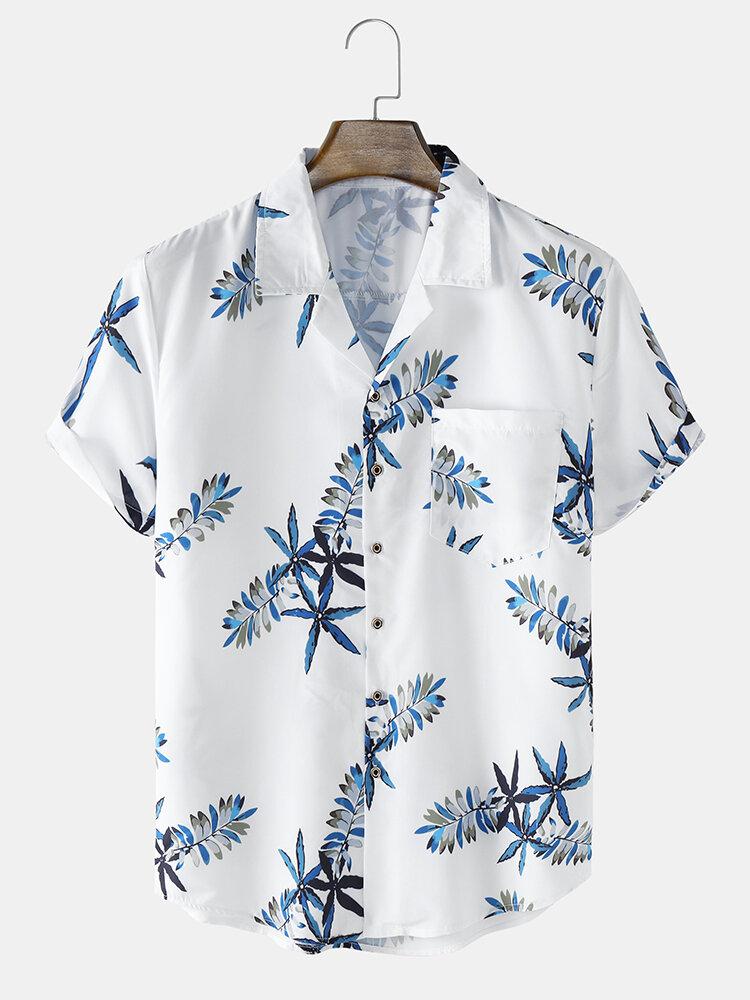 メンズ プラント プリント リビア カラー ホリデー ショート スリーブ シャツ ポケット付き