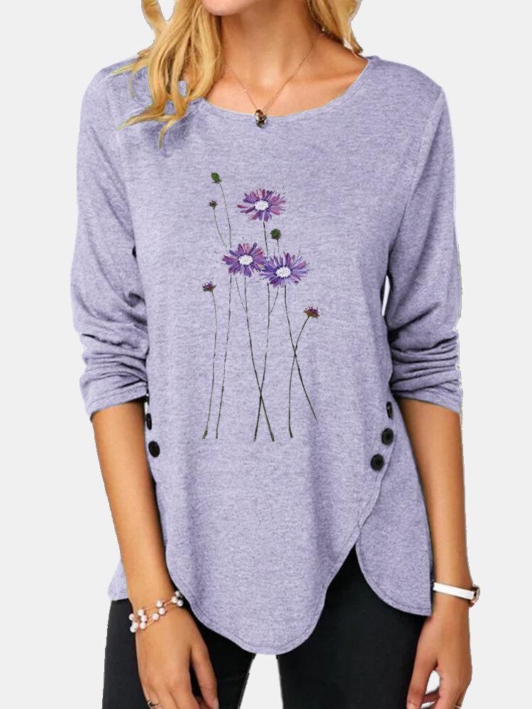 Flower Printed Long Sleeve O-neck Asymmetrical Button Blouse For Women