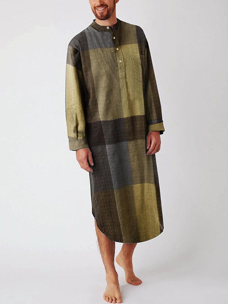 Mens Cotton Ethnic Gingham Kaftan Calf-Length Shirts Design Breathable Casual Robes