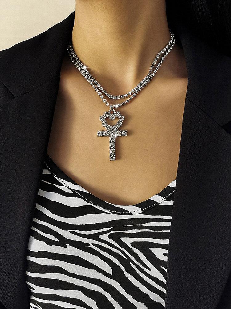 Cross Peach Corazón Collar Temperamento Borla Collar multicapa Cadena de garra completa simple