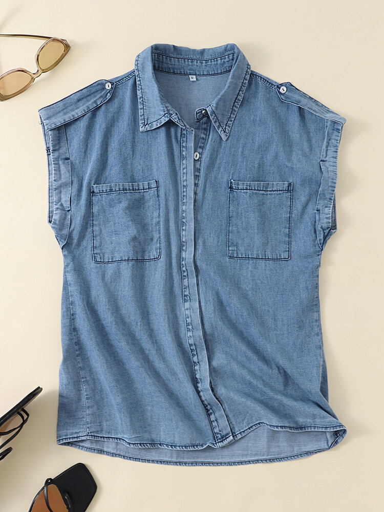 Solid Lapel Sleeveless Pocket Button Women Denim Blouse