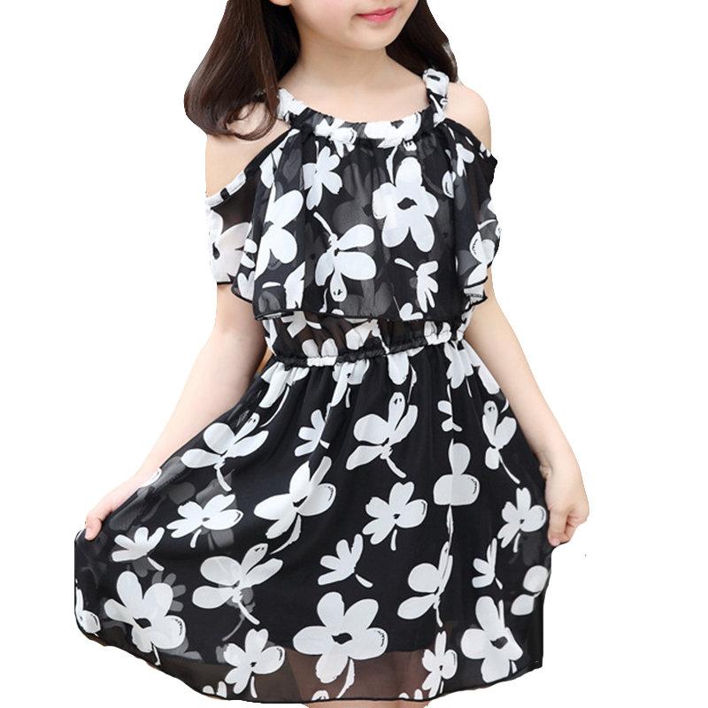 Blumenmädchen Kleid Schulterfrei Chiffon Kleid Für 4J-15J