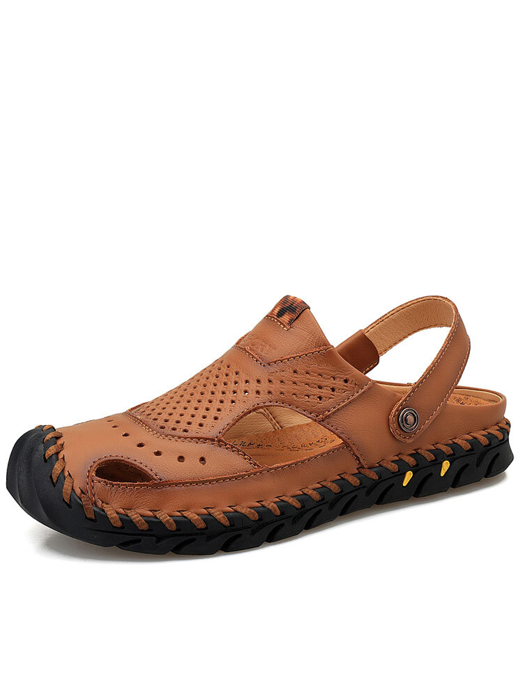 Men Anti-collision Hand Stitching Soft Closed Toe Cowhide Leather Sandals