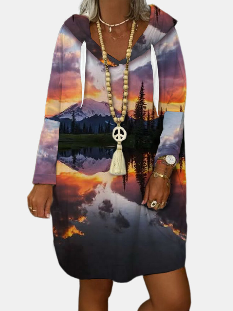 Casual Landscape Printed Long Hoodie For Women