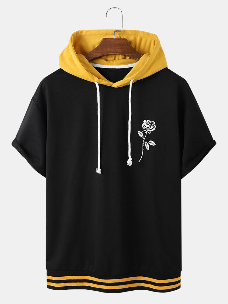 Designer Mens Rose Embroidery Patchwork Short Sleeve Casual Hooded T-Shirt