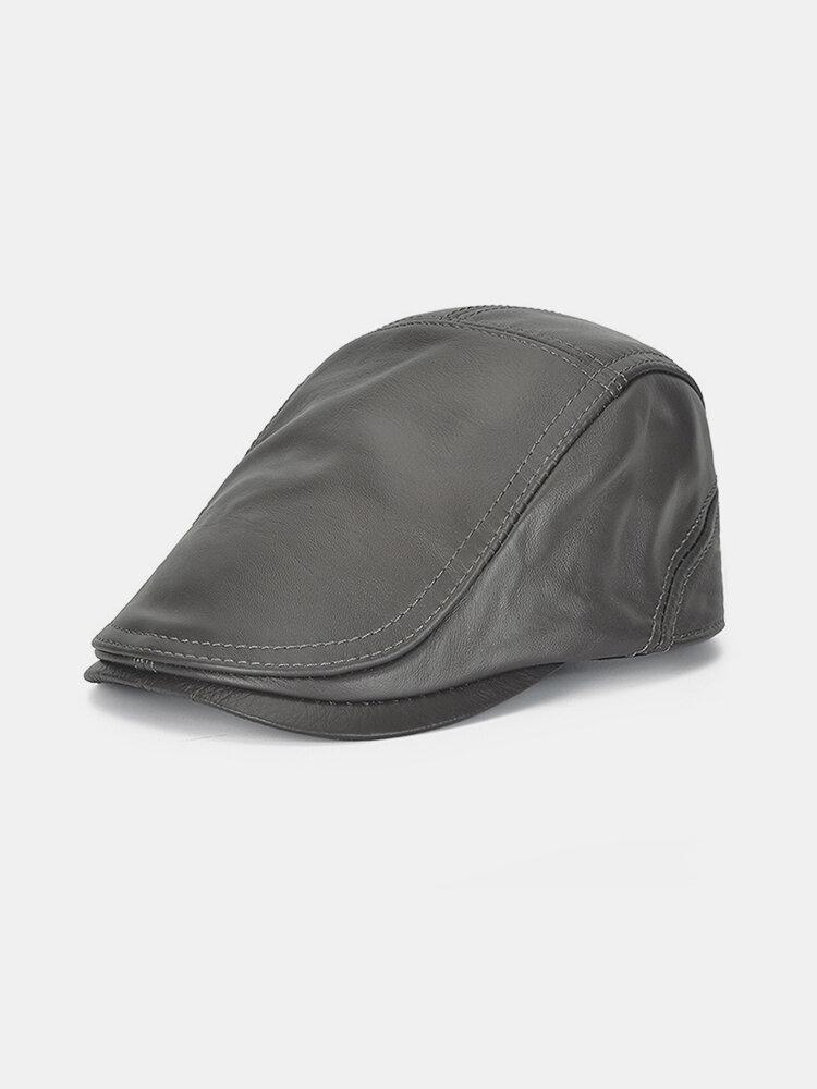 Men's Warm Top Layer Cowhide Adjustable Beret Single Leather Hat