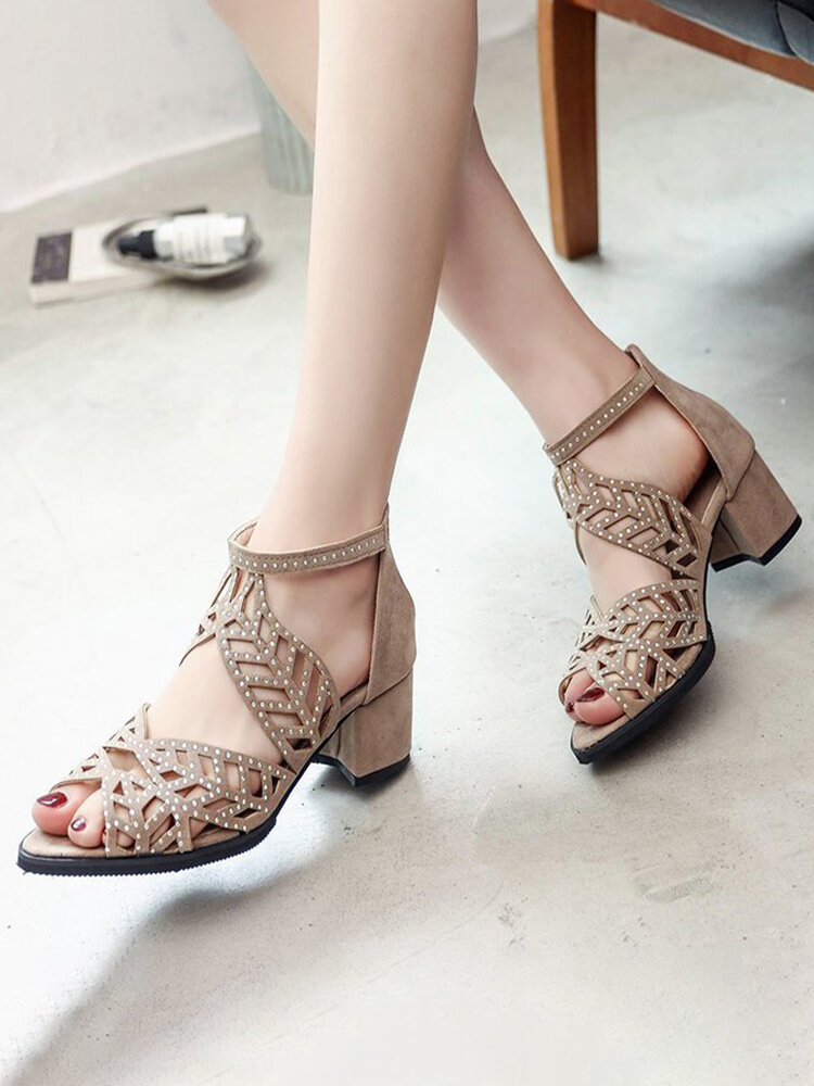 Women Fashion Leaves Shape Crystals Hollow Out Peep Toe Back Zipper Chunky Heeled Sandals