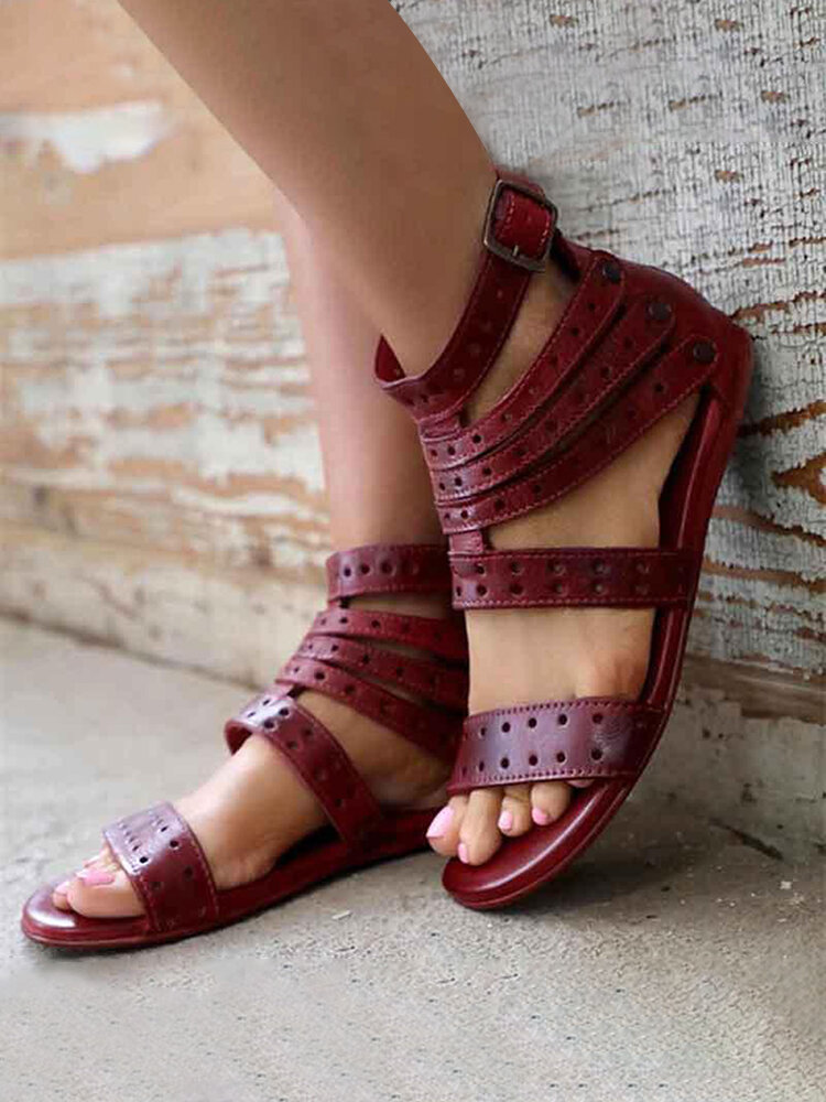 Women Summer European Style Comfy Ankle Buckle Strap Gladiator Sandals