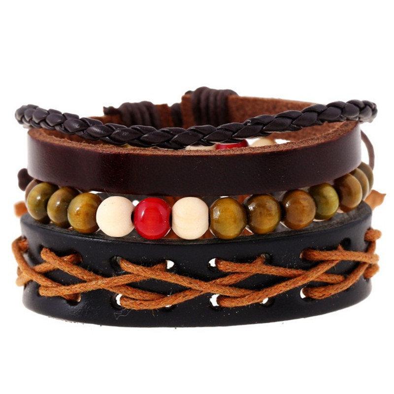Punk Unisxe Multilayer Bracelet Leather Braid Bead Wax Rope Adjustable Bracelet Ethnic Jewelry