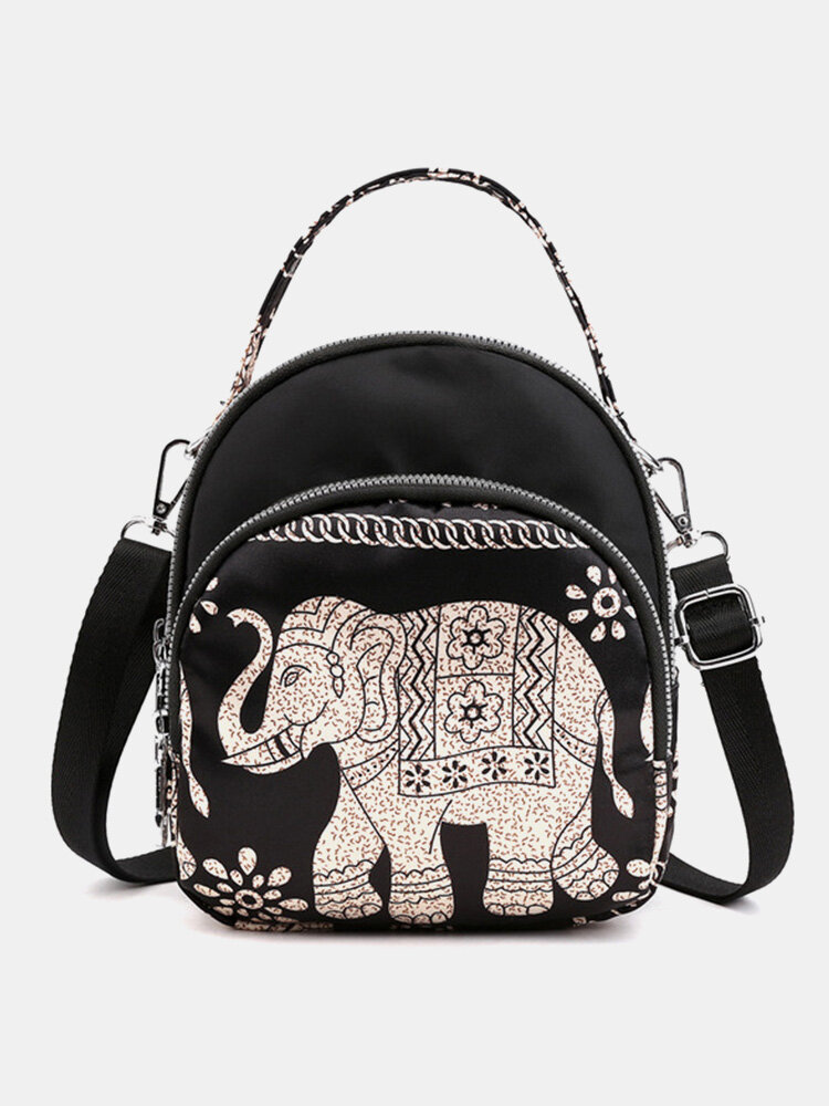 Women Waterproof Multi-carry Bohemia Elephant Print Handbag Crossbody Bag Backpack