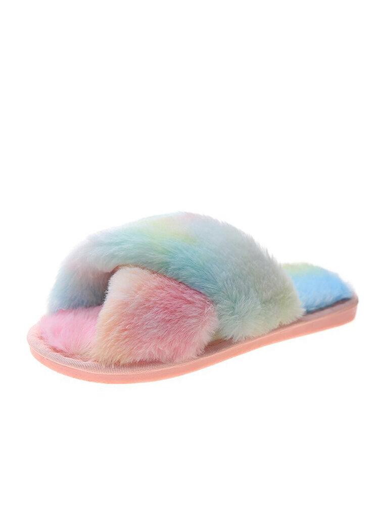 Casa de felpa cálida antideslizante casual para mujer zapatillas