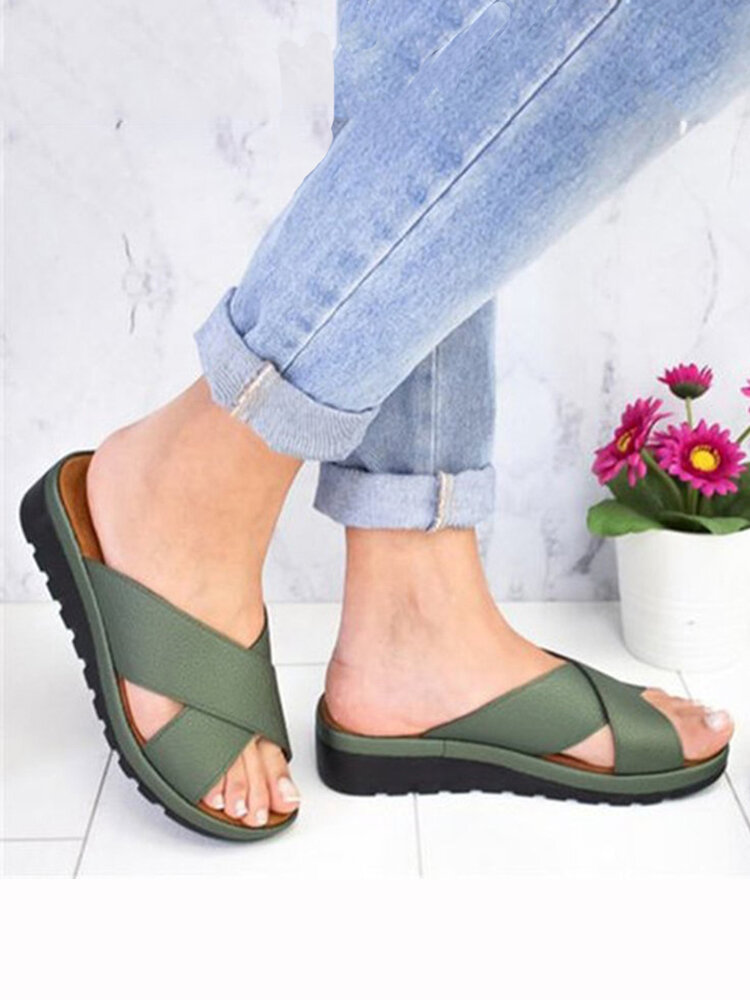 Large Size Women Comfy Open Toe Solid Color Non Slip Wedges Slippers