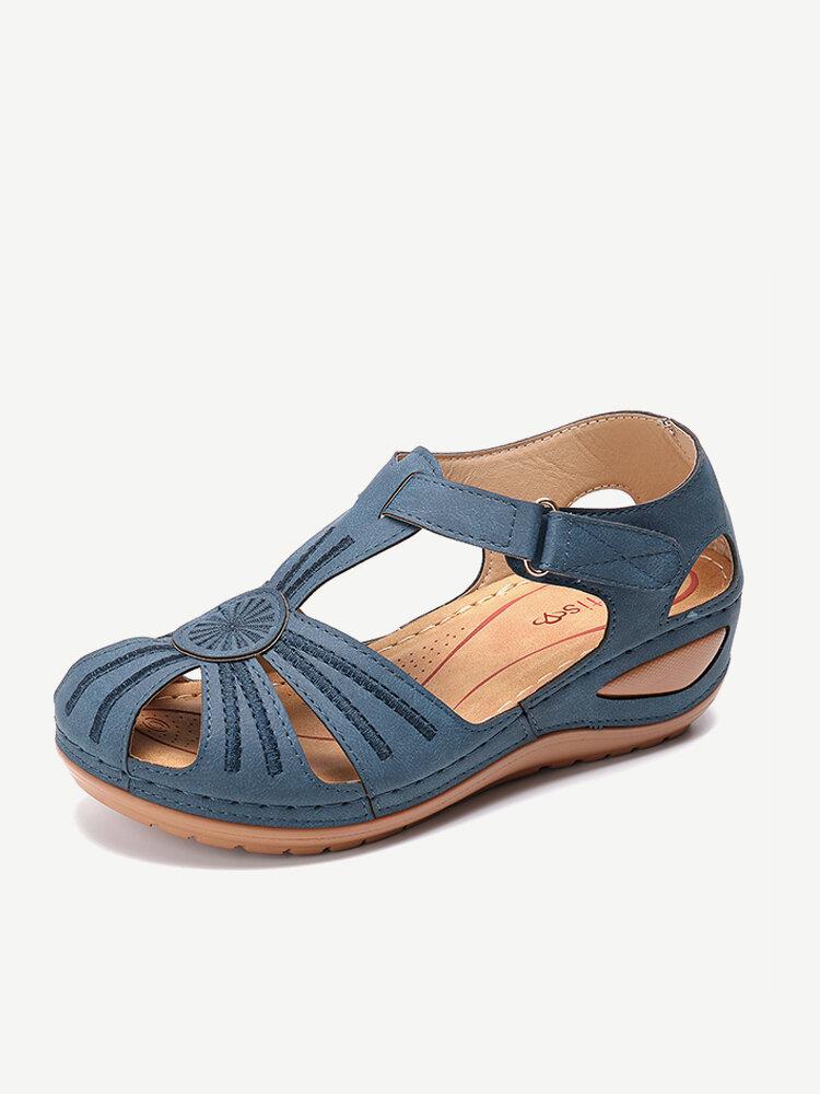 LOSTISY Women Wedges Flower Splicing Casual Comfort Adjustable Sandals