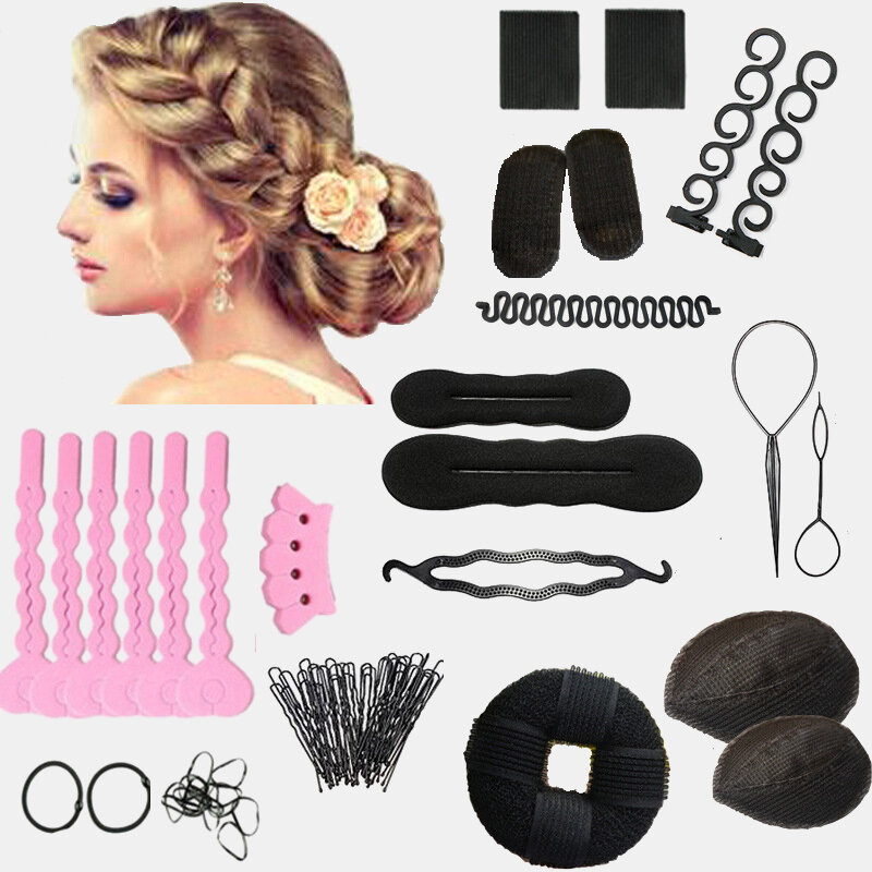 14Pcs DIY Hair Styling Accessories Kit Pads Hairpins Roller Braid Twist Sponge Modelling Hairdress Braid Tools Kit Set
