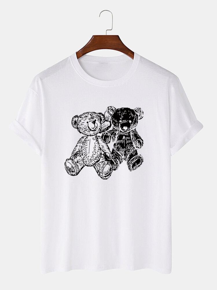Mens Bear Line Print 100% Cotton Crew Neck Short Sleeve T-Shirt