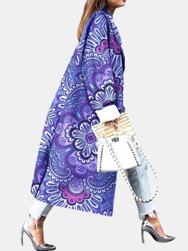 Manteau décontracté ample imprimé Calico - Newchic - Modalova
