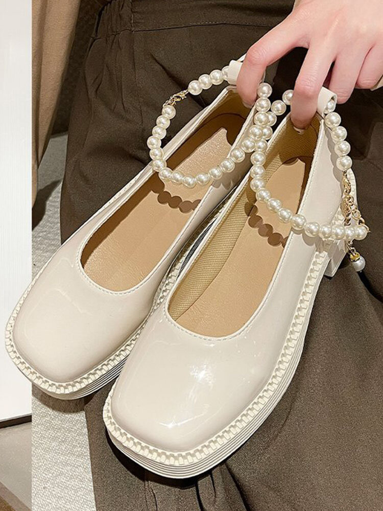 Women Casual Suquare Toe Pearl Chain Mary Jane Block Heels Shoes