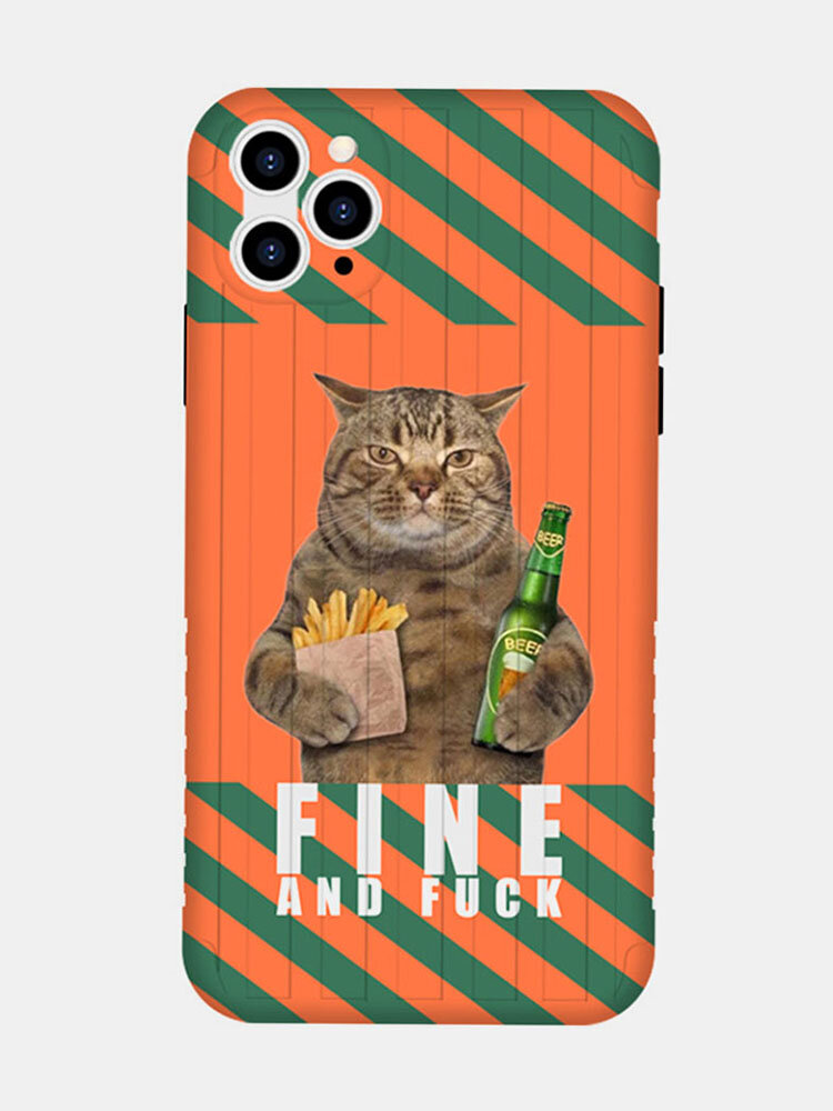 Women&Men Cute Cat Cartoon Pattern Personality  Phone Case