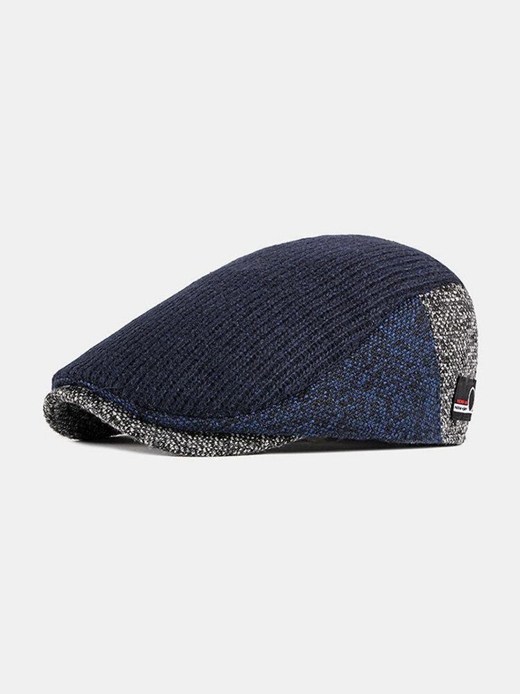 Men Autumn And Winter Beret Hat British Retro Forward Hat Knitted Peak Hat Flat Cap