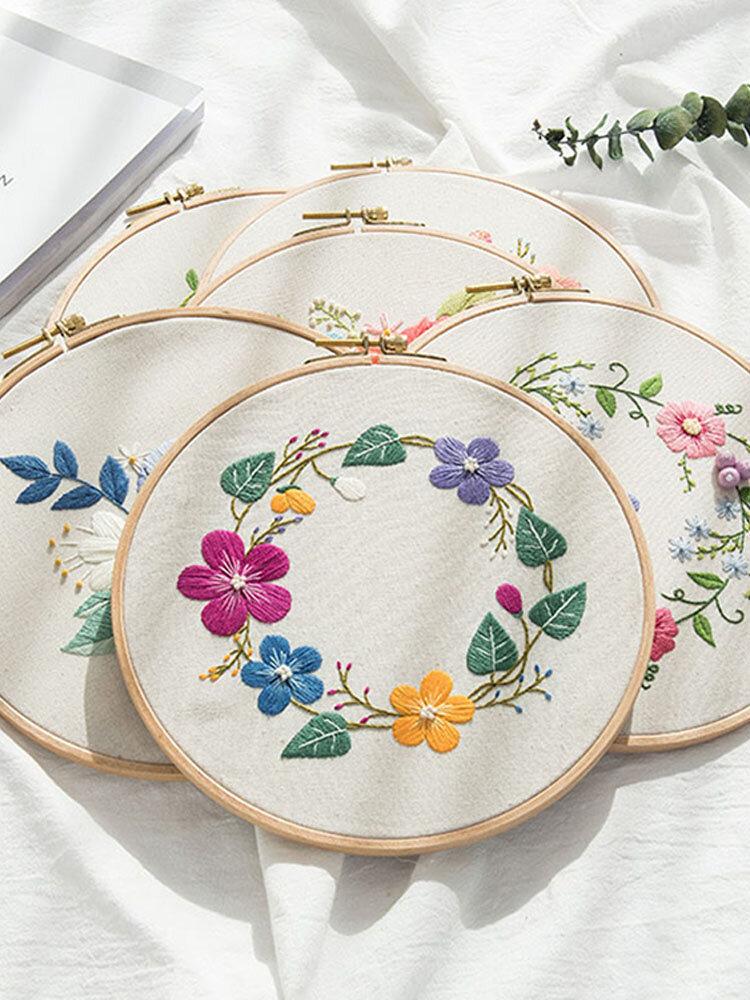 Kit de broderie bricolage imprimé fleur Kit de tissu en lin Kit de couture débutant Kit de broderie à la main