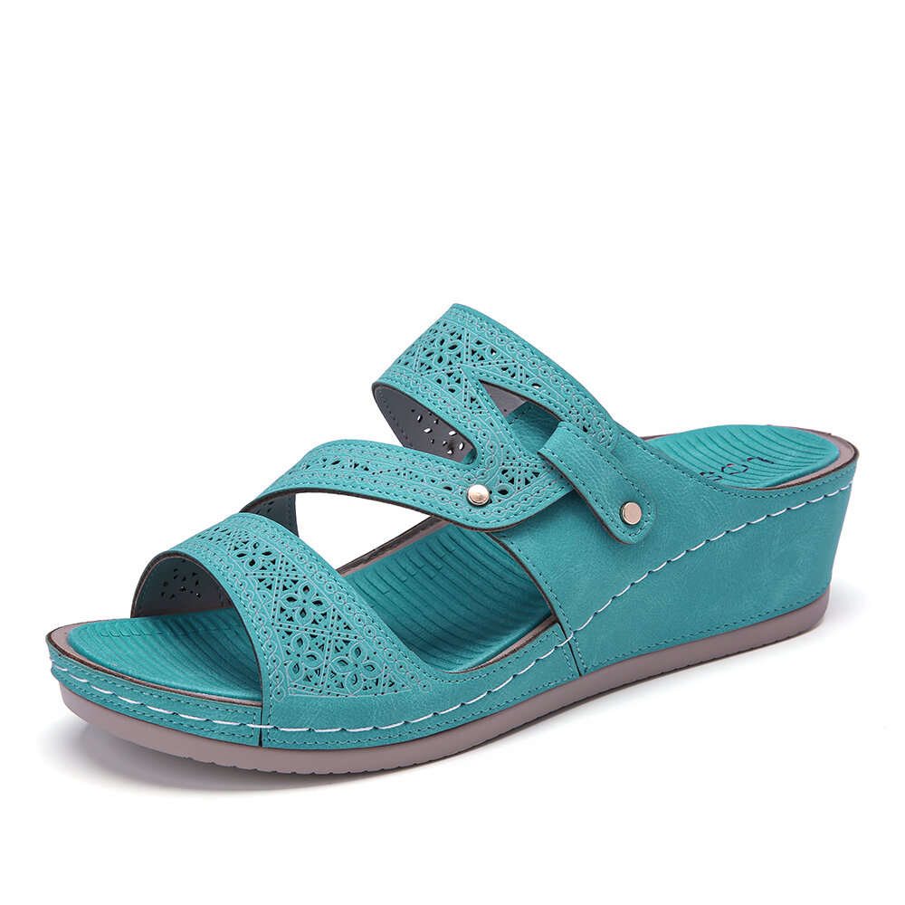 LOSTISY Handmade Stitching Green Casual Wedges Sandals
