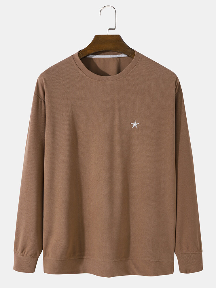 Mens Rib Star Embroidered Crew Neck Casual Pullover Sweatshirts
