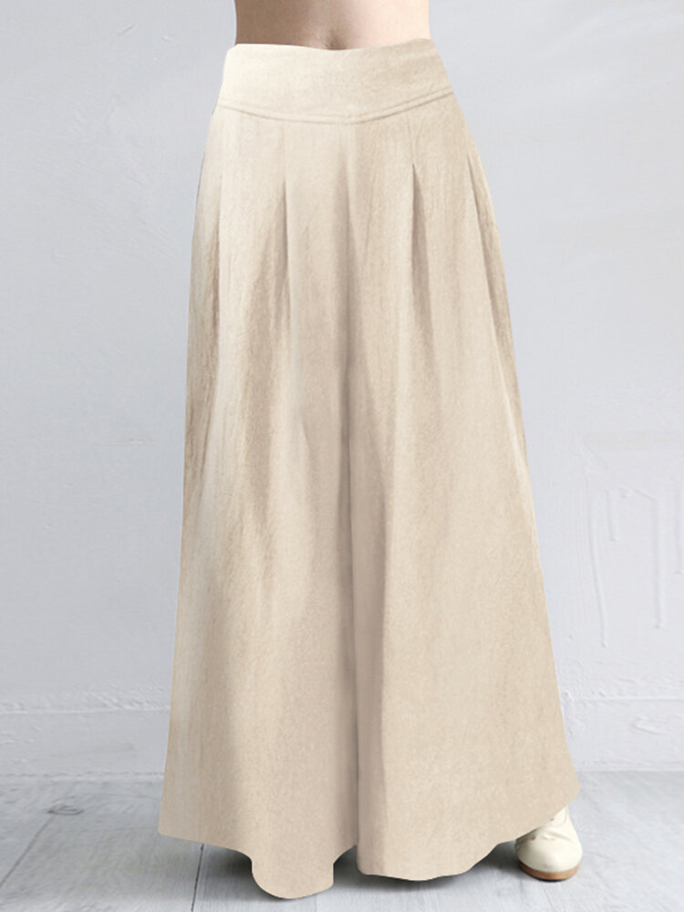 Casual Solid Color Plus Size Wide Leg Pants with Pockets