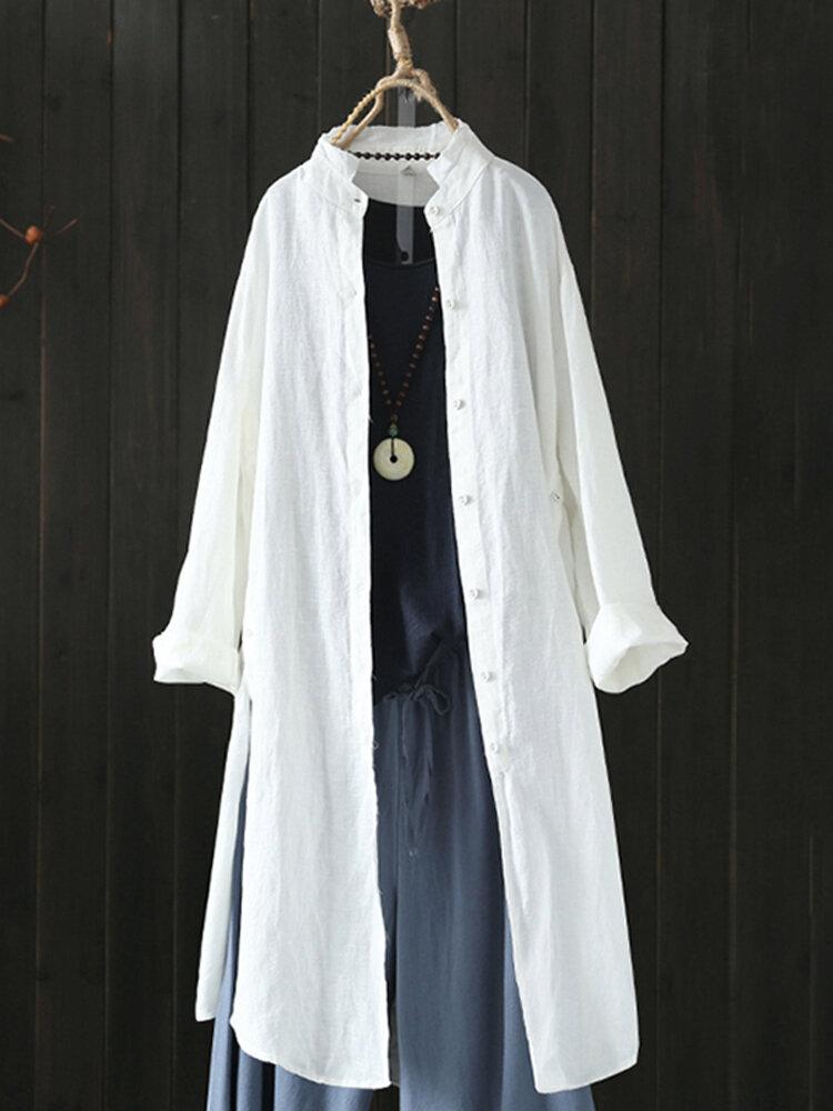 Vintage Irregular Button Split Solid Plus Size Long Shirt