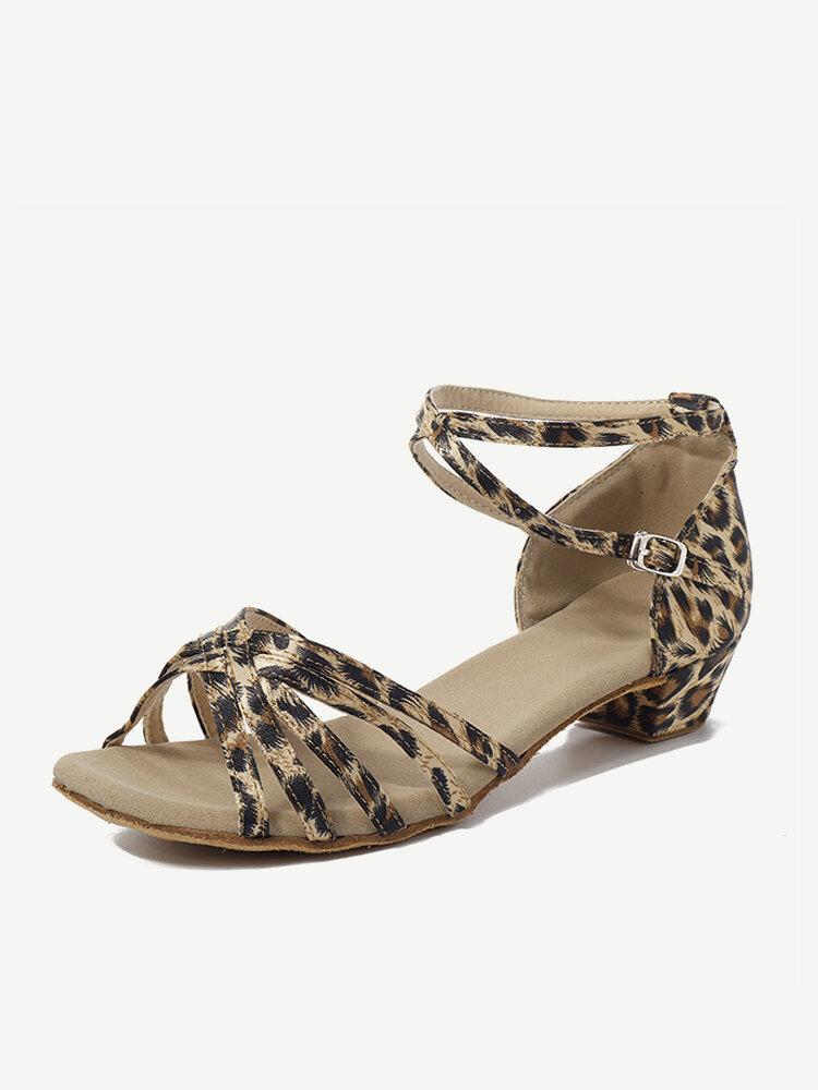 Women Comfy Ballroom Tango Latin Dance Shoes Buckle Low Heel Sandals
