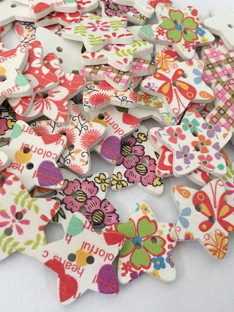 100Pcs 25mm Wooden Pentagonal Painted Buttons Knitting Sewing DIY Materials