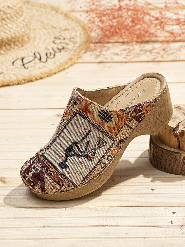 SOCOFY rétro tissu épissage mode motif couture sans lacet sur Mules sabots sandales à talons bas pour cadeaux de pâques