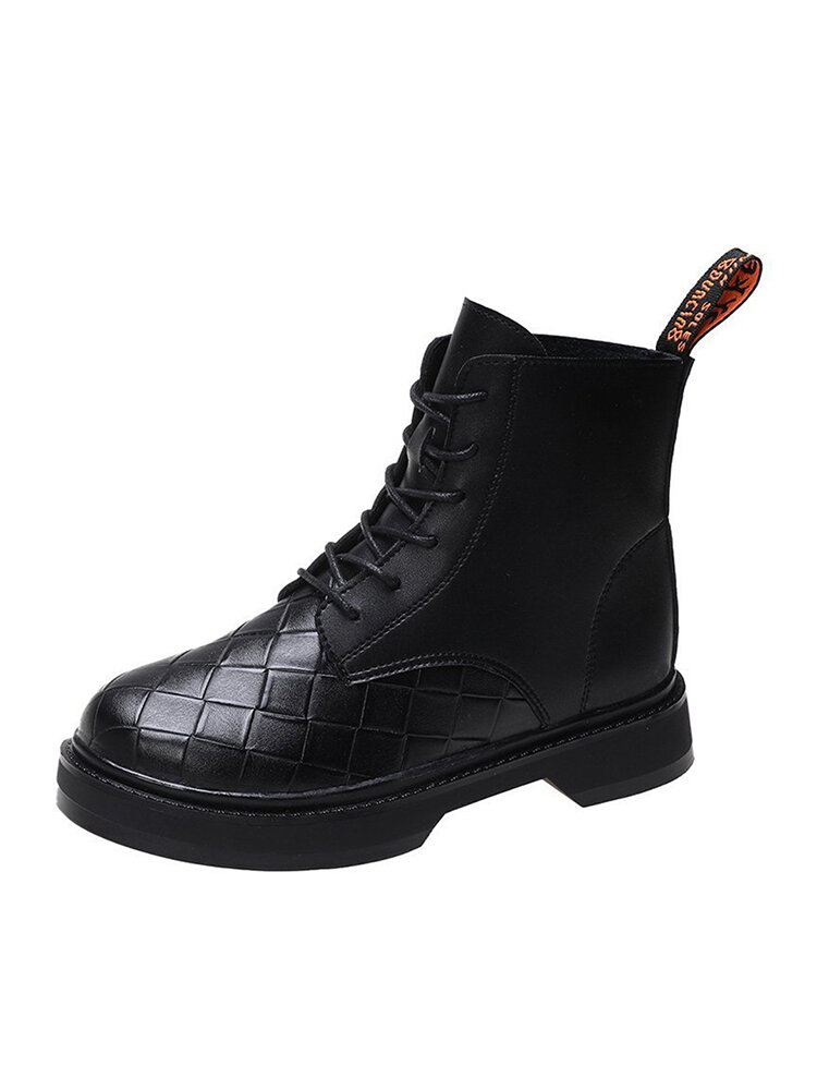 Women Brief Lace-up Antiskid Hard-wearing Combat boots