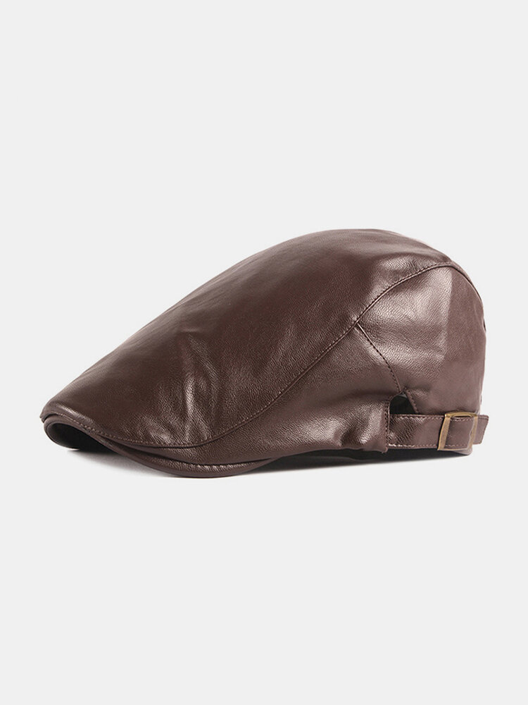 पुरुषों अशुद्ध चमड़े रेट्रो ठोस रंग ब्रिटिश शैली फॉरवर्ड टोपी बेरेट टोपी