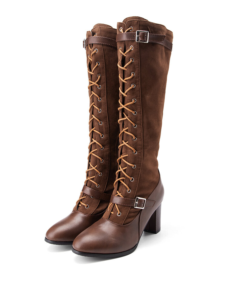 Plus Size Women Splicing Buckle Cross Strap Chunky Heel Mid Calf Riding Boots