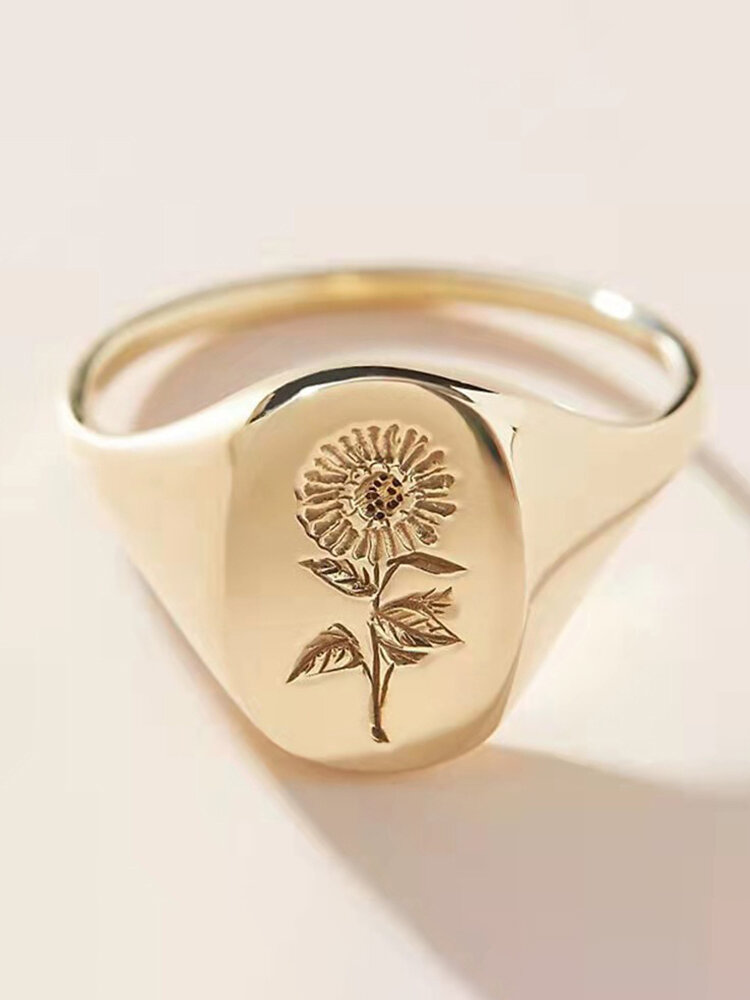 Vintage Stylish Alloy Sunflower Pattern Wedding Party Ring