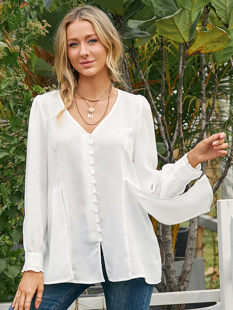 Solid Color Pearl Decoration Pleated Long Sleeve Casual Blouse for Women