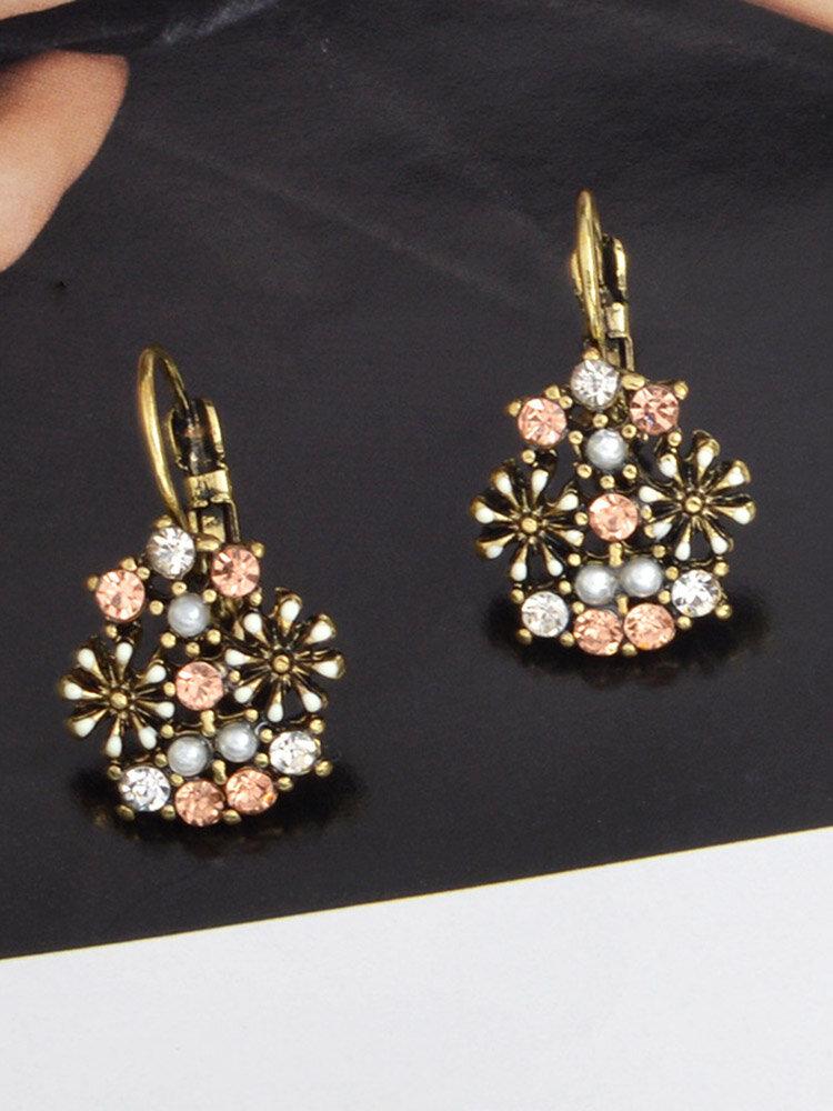 Retro Rhinestone Flower Earrings Diamond Pearl Ear Drop For Women