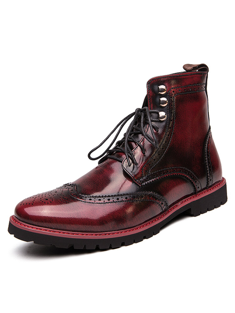 Men Stylish Brogue Carved Lace Up Leather Ankle  Boots