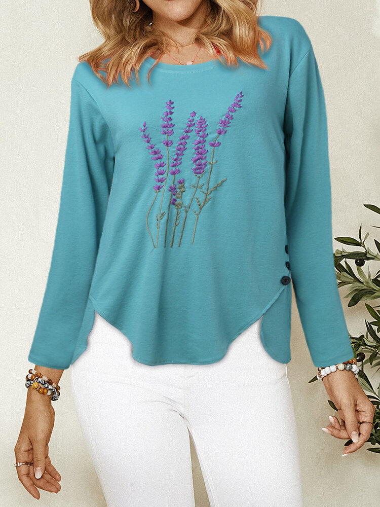 Lavender Embroidery O-Neck Irregular Hem Button Blouse