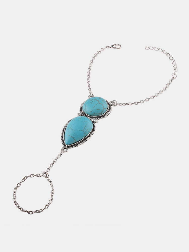 Bohemian Chain Bracelet with Finger Water Drop Turquoise Charm Bracelet Ethnic Jewelry for Women