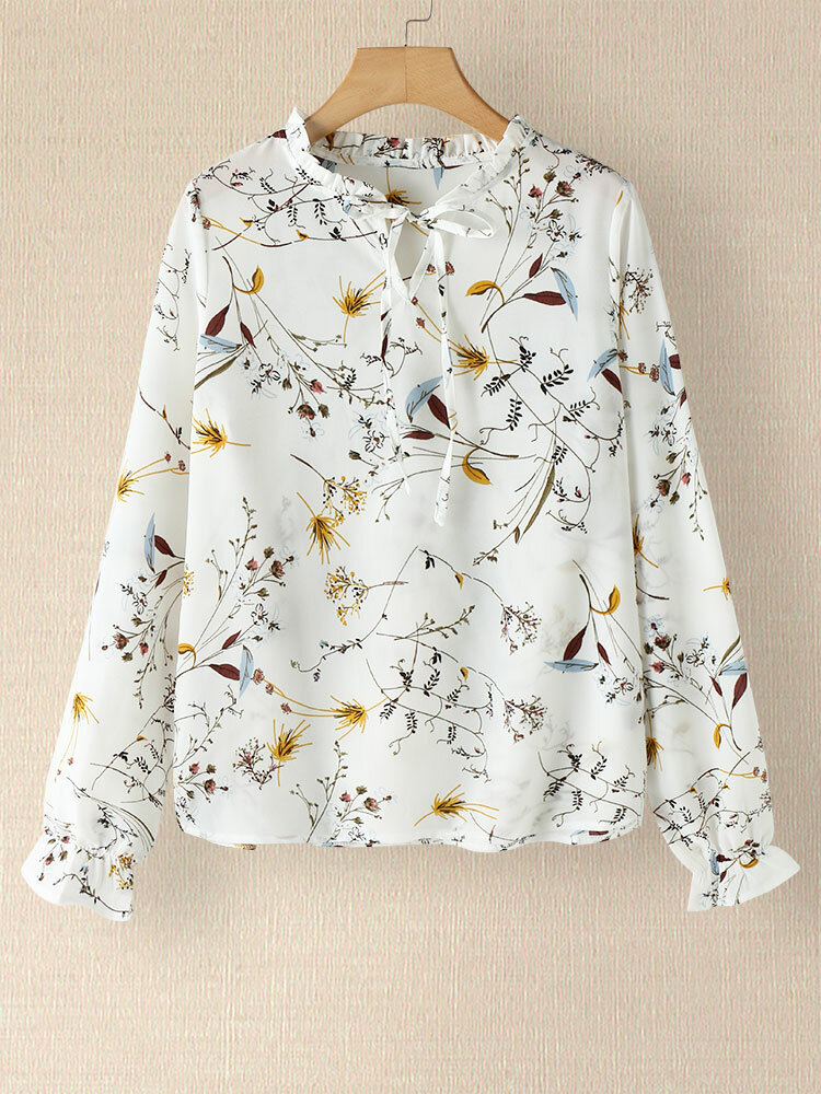 Floral Print Long Sleeve Fungus Knotted V-neck Blouse
