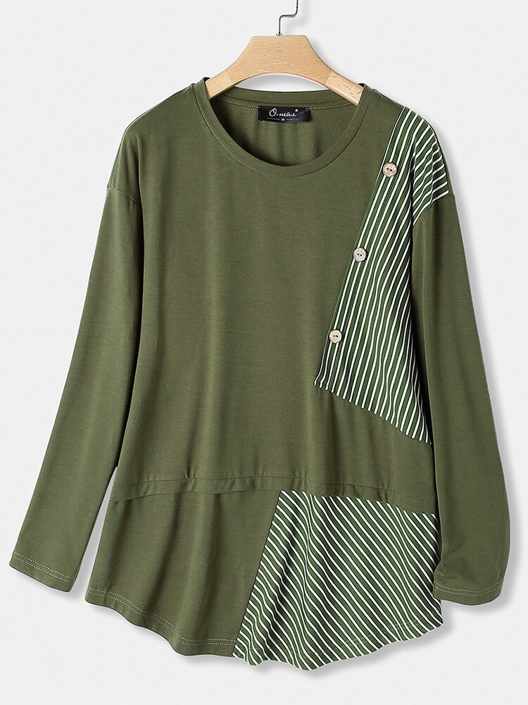 Button Striped Irregular Patchwork Long Sleeve Plus Size Blouse