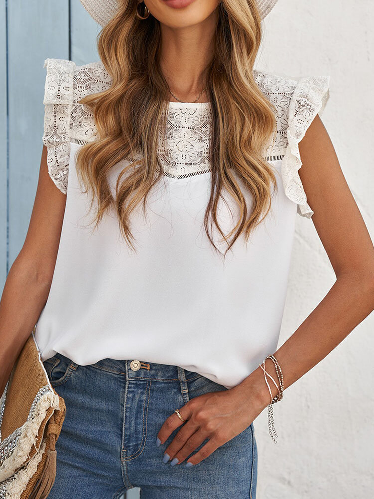 Lace Patchwork O-neck Ruffle Short Sleeve Solid Women Blouse