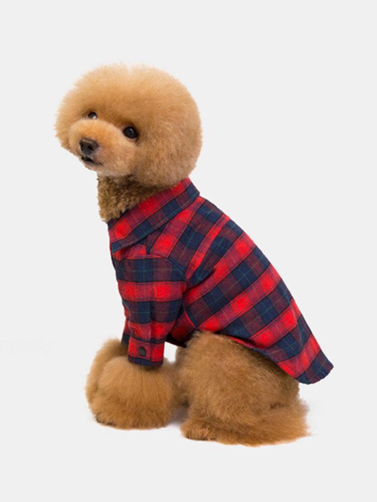 1個の犬の服ラペルチェック柄のペットの服Classic2本足のチェック柄のシャツテディ犬の服