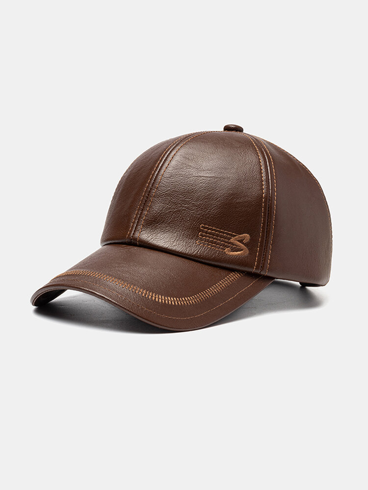 Men's Faux Leather Baseball Cap With Letter Embroidery