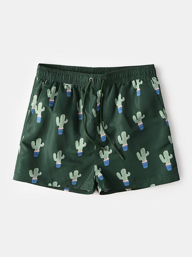 Men Cactus Pattern Printing Shorts Drawstirng Quick Drying Swim Trunks with Mesh Liner