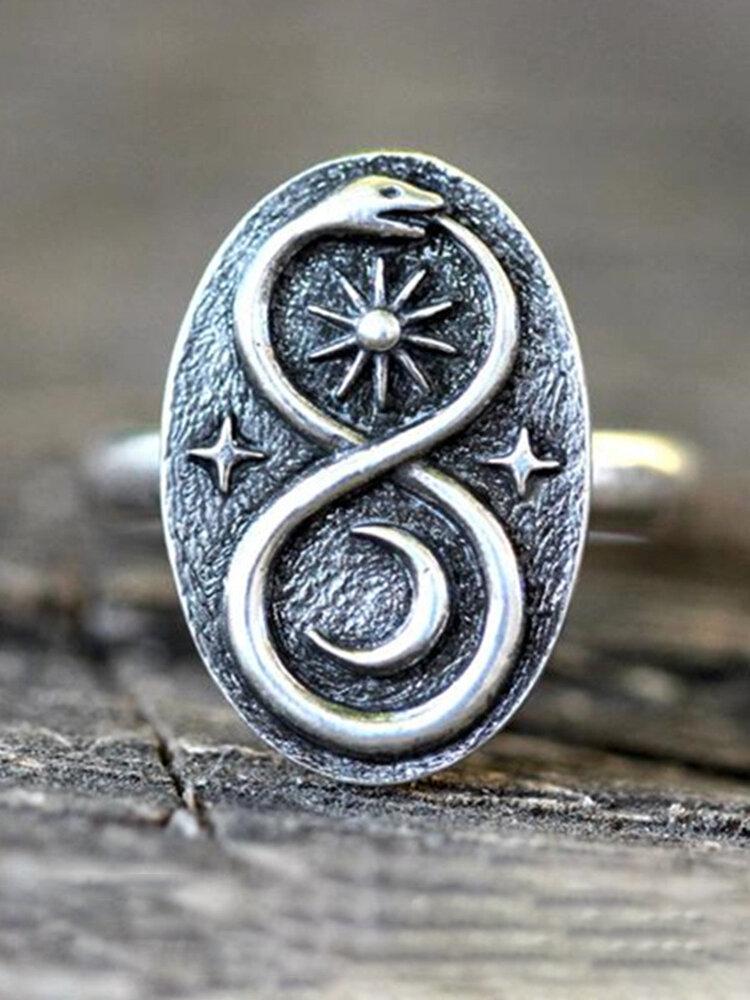 Alloy Vintage Snake Ring Sun Moon Stars Ring